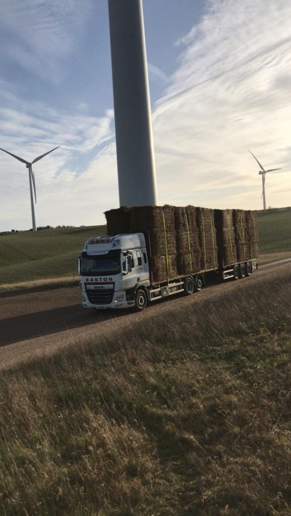 Easton truck FL19 PGE by wind turbines in Hertfordshire