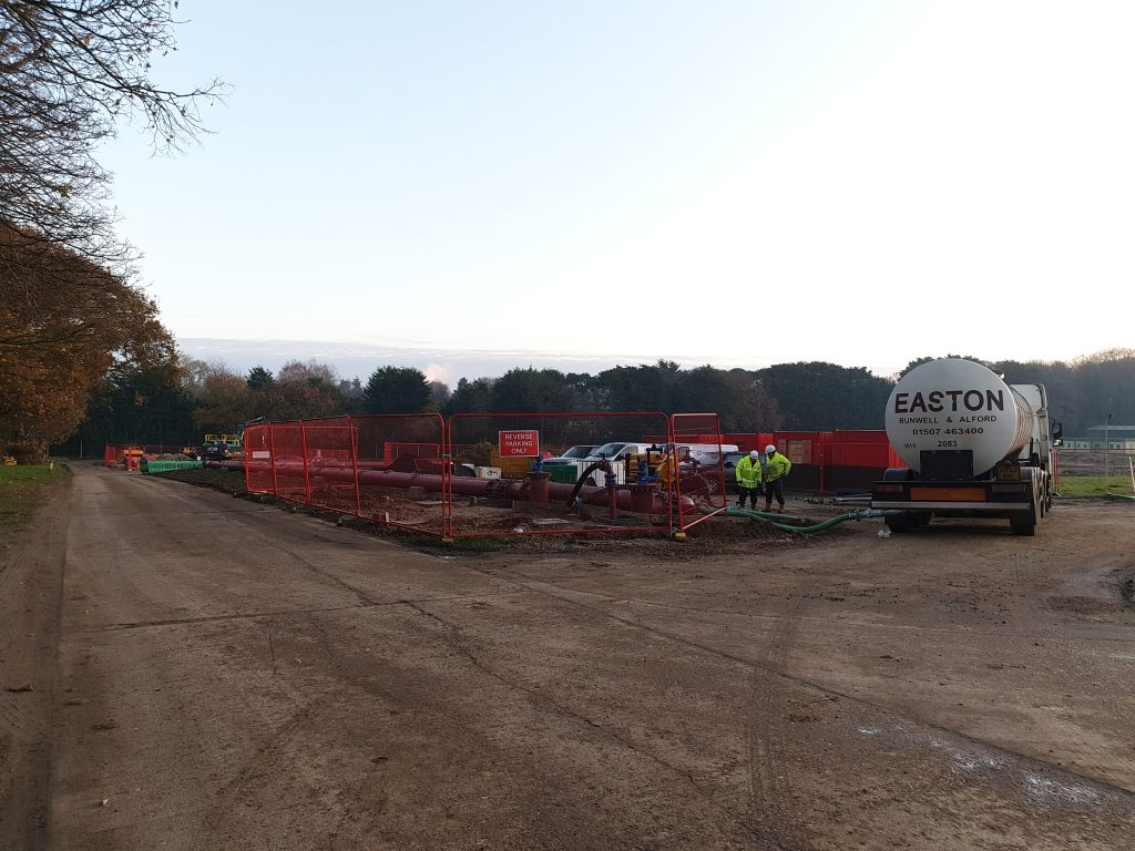 Easton tanker unloading water/glycol solution at Fornham All Saints, 2020